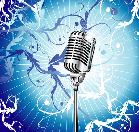 singer with microphone: Chromed microphone for singer with abstract background