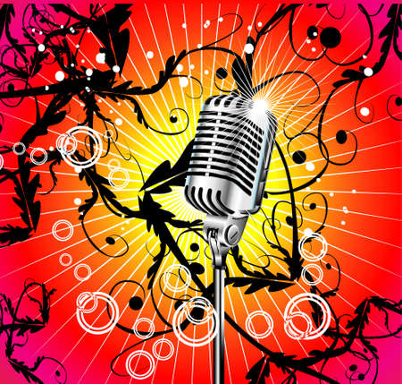 Chromed microphone for singer with abstract background       Vector