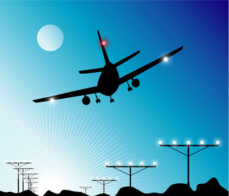 Airplane Landing in the sky Vector