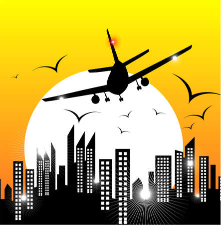 Airplane flyng on the city Vector