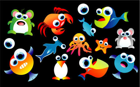 A complete colorful set of funny cartoon animals Vector
