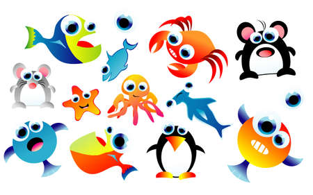 A complete colorful set of funny cartoon animals Stock Vector - 4896199