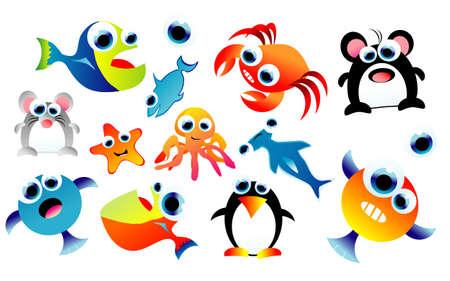 marine bird: Una completa serie de coloridos dibujos divertidos animales