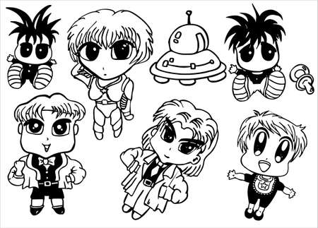 A little collection of manga style cartoon baby Vector