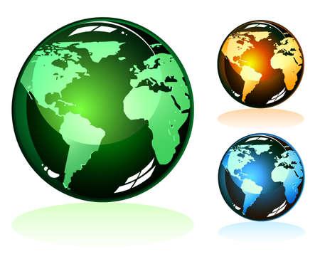 erde gelb: Gl�nzend Earth Icons mit 3 einzigartigen Farben