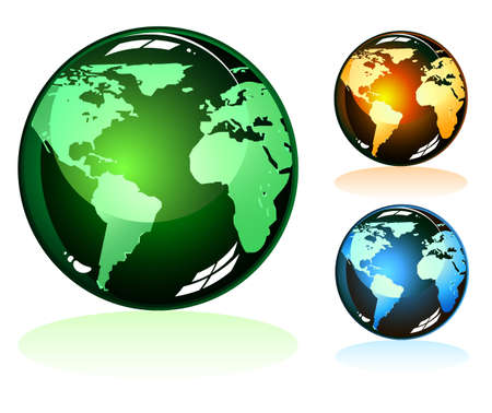 Glossy Earth Icons with 3 unique colors Vector