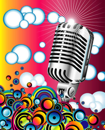 Colorful metallic retro microphone in the Blue sky  Illustration