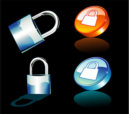 Chrome and Blue Closed Padlock icons Vector