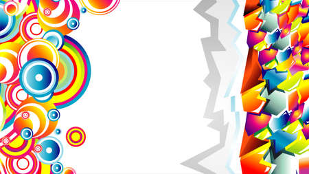 Colorful 3D style graffiti and circles background Vector