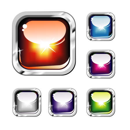 Chromed and Glossy set of Colorful Buttons  Vector