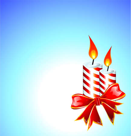 Christmas Candled and Ribbon baclground Vector