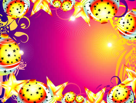 Colorful Christmas decorated frame with balls and stars     Vector