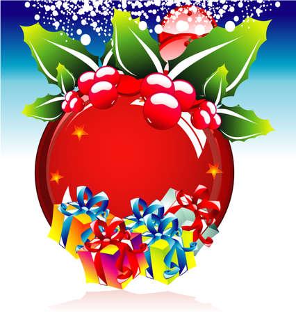 red sphere: Natale sfera rossa con decorazioni e confezioni regalo