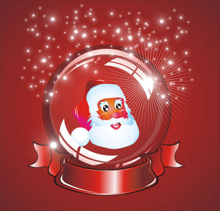 An amazing cristal snow globe with lights reflection and santa inside