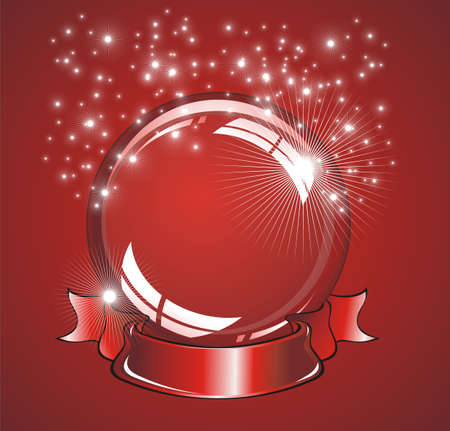 An amazing cristal snow globe with lights reflection Vector