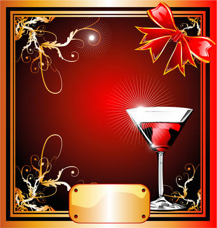 paper ball: Christmas Gold plate and red ribbon background