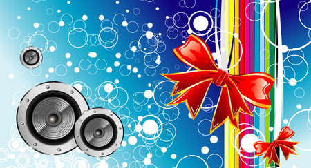 Christmas and music emotions gift box background card Vector