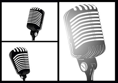 vintage mic: comic style white black retro microphone Illustration