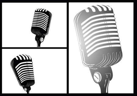 microfono antiguo: historietas blanco negro estilo retro micr�fono