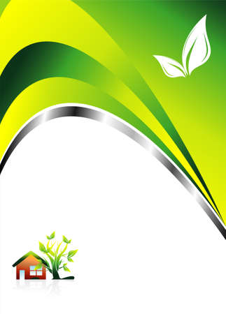 Abstract Environment Green background with leaves Vector