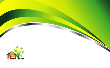 house logo: Abstract Environment Green background with leaves