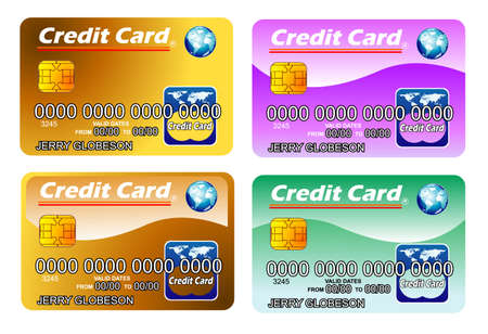 fully editable: Colorful Credit cards with chip. fully editable