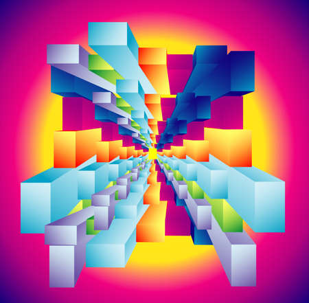 FAntasy composition of abstract Cubic deep well Vector