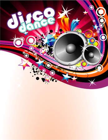musique dance: R�sum� Musique et Disco Colorful Flyer Contexte