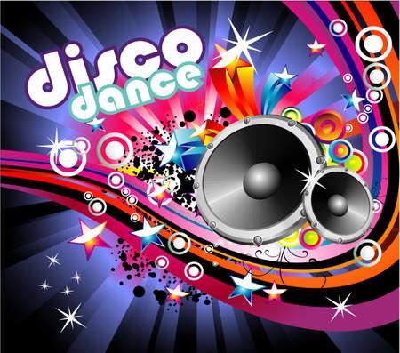 abstract music: Abstracte muziek en Disco kleurrijk achtergrond Flyer
