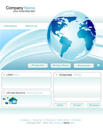Delicate Business web site template with blue design elements Stock Vector - 4896593