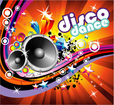Disco Dance Music Colorful Background Vector