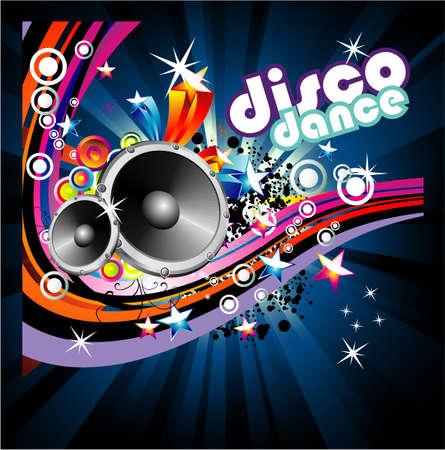 dance music: Disco Dance Music kleurrijk achtergrond Stock Illustratie