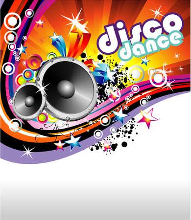 retro disco: Disco Dance Music Colorido Antecedentes Vectores