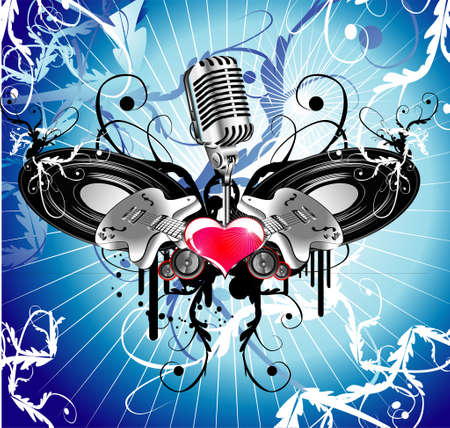 live music: Abstract background with love and music elements