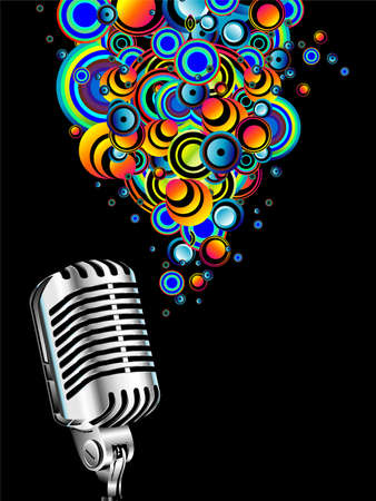 A magic microphone singing colorful bubbles Vector