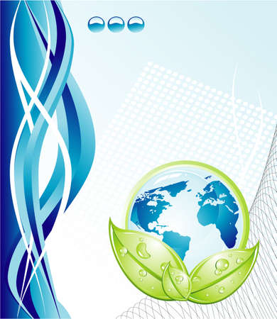 ball of water: Blue Earth and green leaves with water drops background Illustration