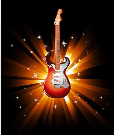 Music Event achtergrond met een kleurrijke Electric Guitar