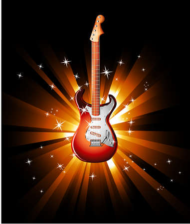 rock guitar: Music Event Background with a colorful Electric Guitar
