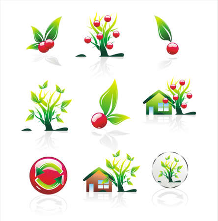 Environment - cherry Icons and stylish cherry tree   Vector