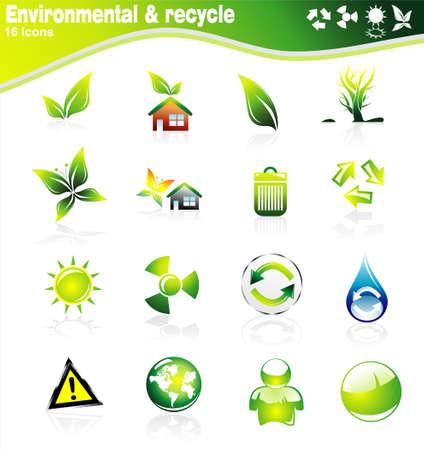 logo recyclage: Collection de l'�cologie et l'environnement des ic�nes