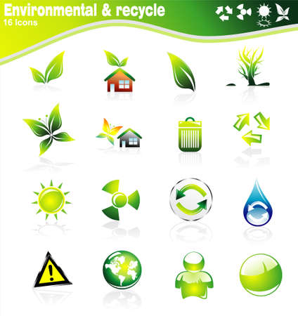 tree logo: Collection of ecology and environmental icons Illustration