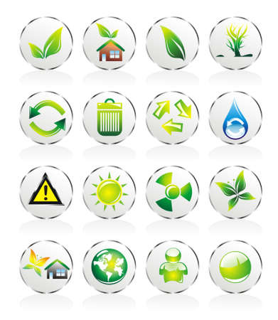 Collection of ecology and environmental icons Vector
