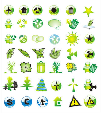 Collection of ecology and environmental icons Illustration