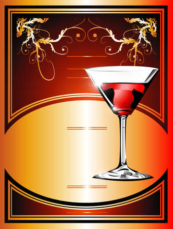 Wine or cocktail Flayer background   Vector