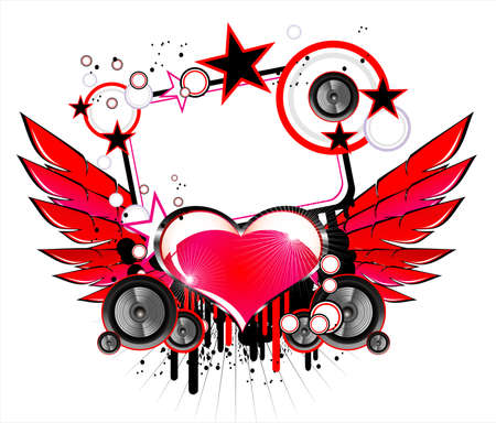 Abstract Love and Music Background Vector