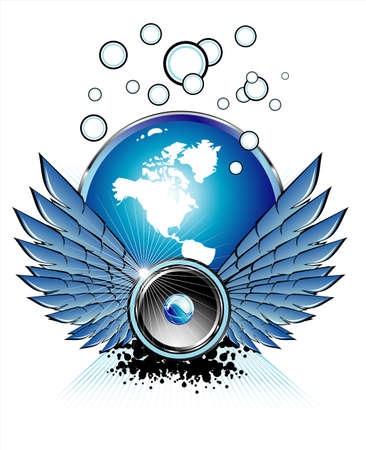 Flying spaker with bubbles,wings and music elements     Vector