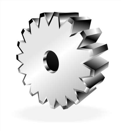 Chromed and reflective 3D gears isolated Stock Vector - 4896766