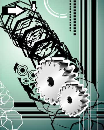 Fantasy art hi tech background     Vector
