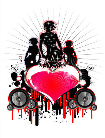 Girls and Love music event frame background Vector