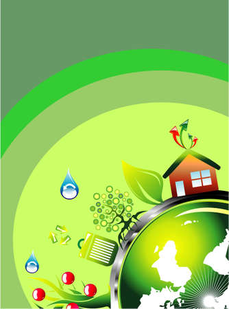 ozone friendly: Environmental and recycle Card template